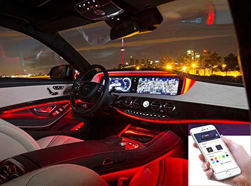 Auto Innenraum Dekorative Streifen Line,Neon-EL-Streifen-Licht-Ton-aktive Bluetooth-Telefon-Steuerung 4M RGB RGB LED (Fit IOS und Android) - Neon Ton