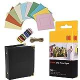 Kodak 2x3 Premium ZINK Fotopapier (50 Blatt) + bunte, quadratische Fotorahmen zum Aufhängen + Fotoalbum (kompatibel mit