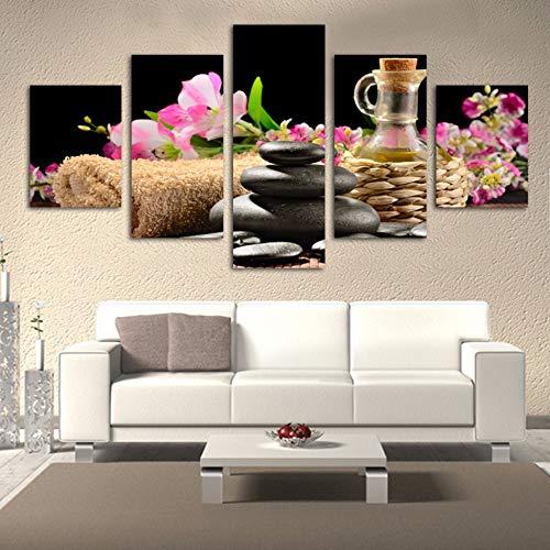 mmwin Arbeit Kunst Für Wohnzimmer Wohnkultur Kunstwerk 5 Panel SPA Blume Und Steinwand Bild Drucken Modulare Poster Leinwand - Herr Komplette Der Sammlung Ringe