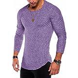 SANFASHION Mode Herren Slim Fit O-Neck Langarm Muscle T-Shirt Casual Bluse (S, Lila)