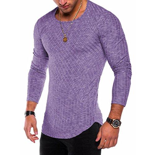 SANFASHION Mode Herren Slim Fit O-Neck Langarm Muscle T-Shirt Casual Bluse (XL, Lila)