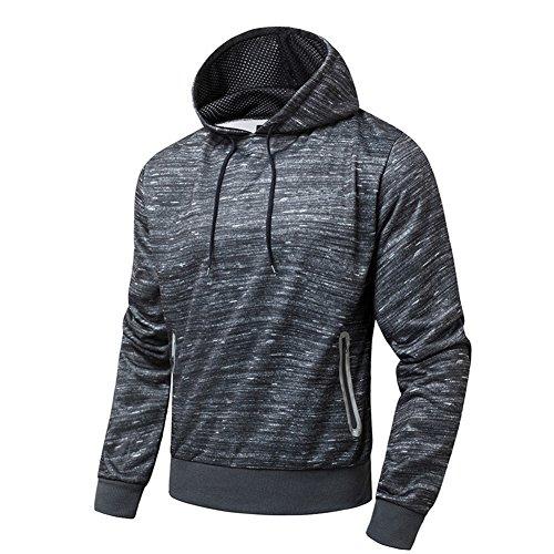 BicRad Herren Kapuzenshirt Hoodie Langarm Sweatpullover Winter Fleece Shirt (L(Brust: 114CM / 44.9INCH), Dunkel Grau) (Langarm-shirt Fleece Herren)