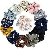 Damen-Haargummis, Chiffon-Blume, mit Schleife, Chiffon, Pferdeschwanz-Halter, in 8 Farben, Chiffon-Blumen, 14 Stück