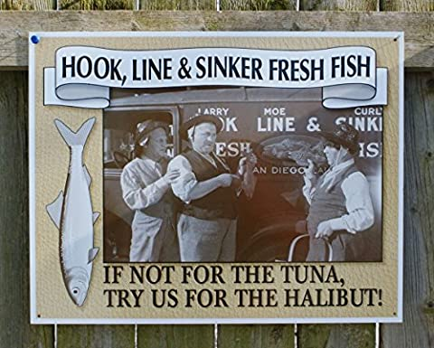 Three Stooges Fresh Fish Retro Vintage Tin Sign