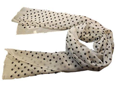 & weiß schwarz Punkten polka dots Punkte Damen Schal mit Crinkle 177.80 cm x 101.60 cm-von (Fat Lady Kostüme)