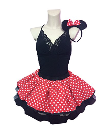 (Honey B's® Mini Mouse Style Red Tutu White Polka Dots Fancy Dress Plus Size UK 18 - 22 with Headband (Women: 22-24))