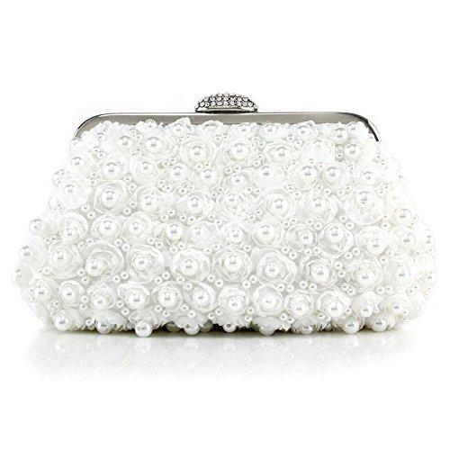 AGOPO Schultertasche Frauen frische süße Clutch Blume Perlen Abendessen Kette Tasche Brautjungfer...