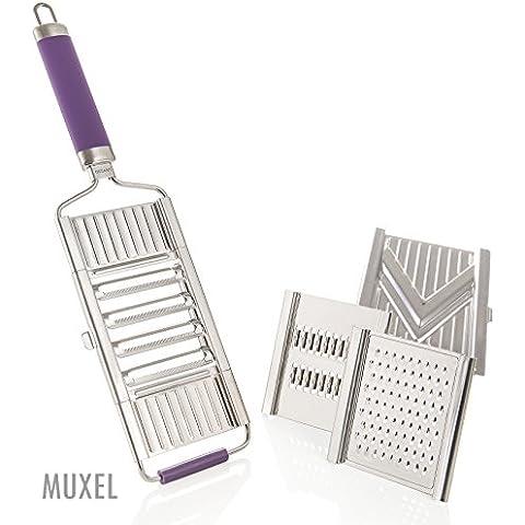 muxels Gigant 4pieghe–Mandolina con 3inserti supplementari. V–Affettaverdure, Tagliaverdure a julienne e grattugia per formaggio parmigiano