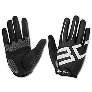 Anser 2240033 Outdoor Cycling Full Finger Gloves Bike Bicycle Gloves Breathable Anti-slip Reflective for Autumn Winter (Black White, S)