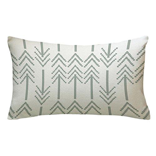 Yuan flecha impreso cojín decorativo Rectangular de Lino manta funda de almohada Home Textile, C, 18'*18