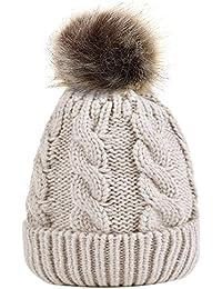 74e7930fd28 Zoylink Beanie Hat Decorative Pom Pom Winter Warm Hat Knitted Cap for Women