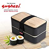 Sushezi Bento Box Boîte à Lunch - Boite à Repas avec Couvercle en simili Bambou et Couverts - 2 Compartiments Étanches en Plastique Alimentaire - Apte pour Micro-ondes et Lave-vaisselle - 1 Set - Noir