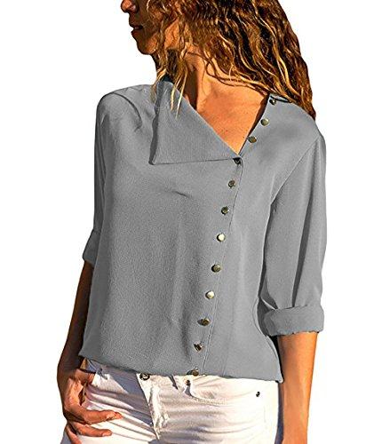 Eyeswing Damen Elegante Bluse Chiffon Lange Ärmel Oberteile Elegante Mode Hemd Top Blusenshirt (Grau, Medium)