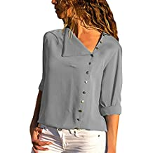 Udgwaz Damen Bluse Chiffon Lange Ärmel Oberteile Hemd Top Blusenshirt 5fc357aa78