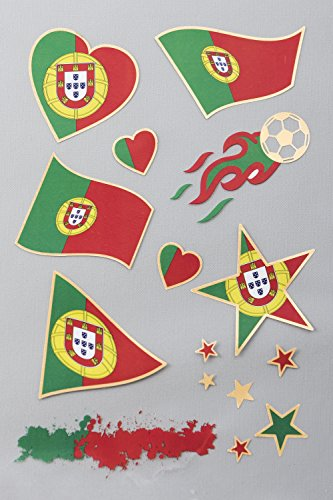 Flaggen Tattoos Portugal | Flash Tattoo für die Haut | Länder Fanartikel | Fußball Flaggen Fahnen Tattoo von Portugal | 1 A5 Sheet 15 Motive | verschiedene Länder verfügbar