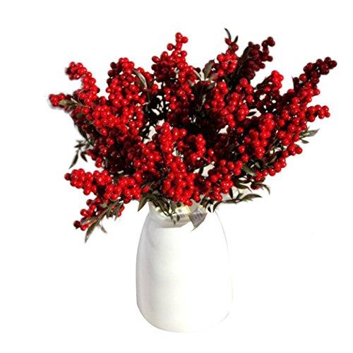 Longra Wohnaccessoires & Deko Kunstblumen Künstliche 5 Blumenstrauß Kunstblumen günstig Weihnachten Früchte reiche Frucht Home Dekor Pflanze Beeren (A)