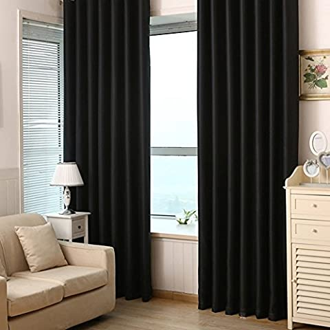 2 Panels Solid Color Polyester Thermal Insulated Blackout Curtains for