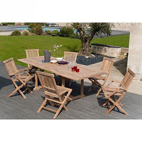 Ensemble en teck brut table extensible de jardin 180 - 240 x 100 cm + 4 chaises + 2 fauteuils