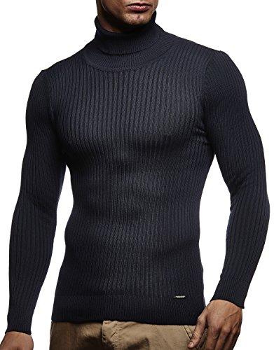 LEIF NELSON Herren Pullover Strick Rollkragenpullover Hoodie Longsleeve Basic Rollkragen Sweatshirt langarm Sweater Feinstrick LN1670; Gr_¤e L, Dunkel Blau