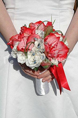 Silk Blooms Ltd Weiß & Rot Amaryllis Kunstblumen Klein Braut Hochzeit Bouquet