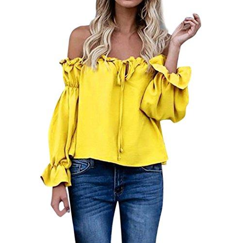 Xinan Blusen Damen Off Shoulder Top Schulterfrei Trägerlos Chiffon Locker Langarm T-Shirt Top (M, Gelb%)