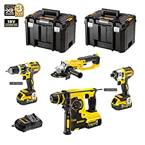 DeWALT Kit 4 outils 18V XR DCK484P3T - (3 batteries x 5,0Ah Li-Ion)