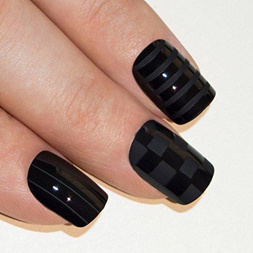 Art bling faux ongles français Manucure Noir mat Justice Moyen Conseils UK