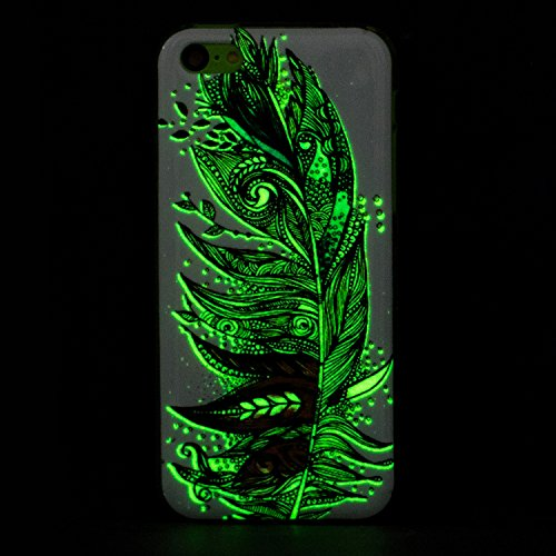 iPhone 5C Silicone Case,iPhone 5C Gel Case,Feeltech [Free 2 in 1 Black Stylus Pen] Luminous Effect Noctilucent Green Glow in the Dark Matte White Ultra Slim Soft Rubber Shock Absorber Flexible Bumper  Piuma multicolore