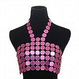 Kamiwwso La Sra. Exagerada Sexy Beach Bikini Cadena de Ropa para el Cuerpo Lentejuelas Coloridas Cadena para el Pecho Hecha a Mano (Color : Pink)