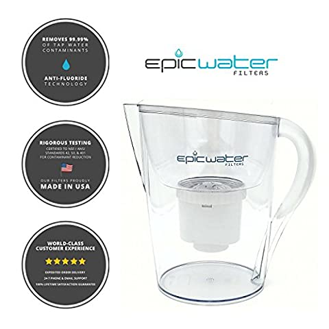 Epic Pure Water Filter Jug, Without BPA, Removes Fluoride, Lead, Chromium 6, Removes PFOS PFOA, Heavy Metals, Micro Organisms, Pesticides, Chemicals, Industrial Pollutants