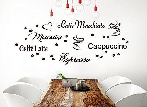 """Wandora, G006, adesivi da parete per cucina con scritte: """"Latte Macchiato"""",  """"Moccacino"""", """"Cappuccino"""", """"Espresso"""" """"caffè Latte"""" e con chicchi di ..."""