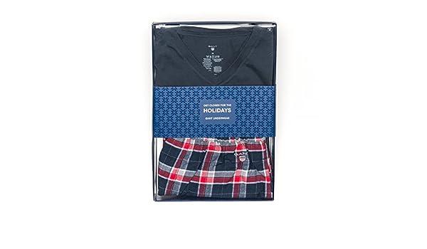 cf48050363 Gant Tee Mens Pajama Set Gift Box PreSS18 Navy XL  Amazon.co.uk  Clothing