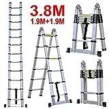 3.8M Escalera Telescópica Plegable (12.5FT, Multi-propósito Extensible, Buena Calidad, Mayor Seguridad, Aluminio)