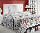 Tagesdecke Bettüberwurf City New York 1 170x210 cm Steppung gesteppt für Jugendliche weiß rot schwarz CITY/NY/1