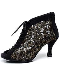 Minitoo QJ7018 Filet à fermeture Éclair pour femme Salsa Tango écoles Latin Mariage Soirée danse-chaussures