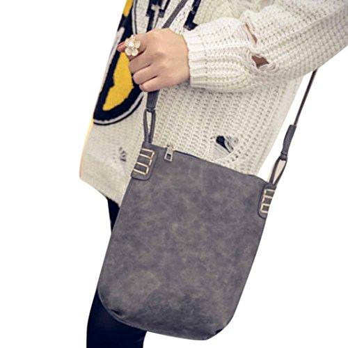 Damen Umhänge Tasche, Xjp Leder Umhängetasche Crossbody Tasche Messenger Bag Schultertasche Tasche Grau