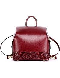 Lbag Retro-Stil, geprägtes Handwerk, EIN-Schulter-Schleuder Mode nationalen Stil Handtasche,Red