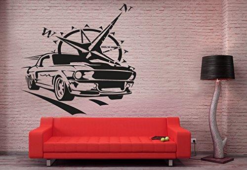 Schönes Wandtattoo Keep On The Road Auto Ford Mustang in der Farbe pink und der Größe 120 x 117cm für Wohnzimmer Esszimmer Schlafzimmer Wandaufkleber Wandsticker Aufkleber (Pink Ford Mustang)