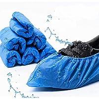 Ezlife Cubrezapatos Desechables Antideslizante 100 Piezas Impermeables Cubiertas de Plástico CPE
