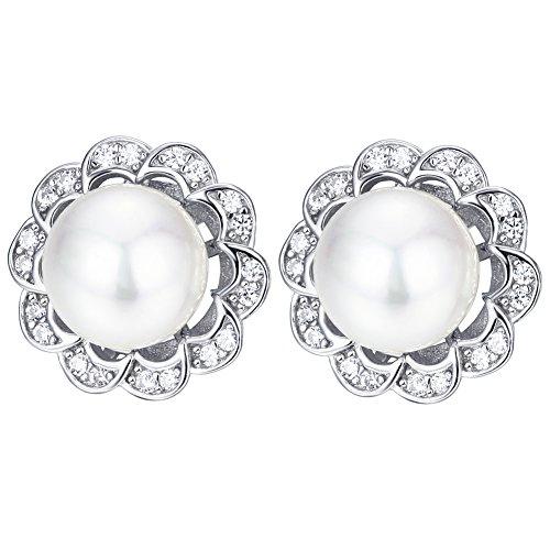 F.ZENI pendientes de perlas de plata de ley 925 de agua dulce de 10 mm perla y cúbicos zirconia flor pendientes para las mujeres
