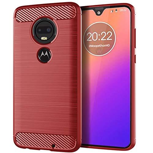 NEWZEROL Ersatz für Motorola Moto G7 Hülle [Slim-Fit] [Kratzschutz] [Stoßdämpfung] Brushed Grip Case Schutzhülle TPU Weiche Handyhülle-Rot [Lebenslange Ersatzgarantie]