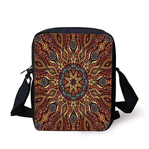 Ethnic,Ethnic Mosaic Like Kaleidoscope Design with Floral Swirls Image Decorative,Brown Blue Yellow and Marigold Print Kids Crossbody Messenger Bag Purse - Kaleidoscope Eye Kit