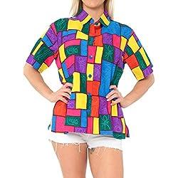 LA LEELA Blusas Relajado de Vacaciones de Camisa Hawaiana botón a Las Mujeres de Manga Corta XL Scary Morado_X15
