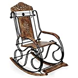 Nisar Handicrafts Wooden & Iron Decorative & Carved Rocking Chair Foldable