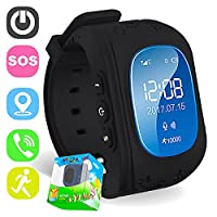 TURNMEON Smart Watch for Kids Boys Girls GPS Tracker Easter Birthday Gifts Children Smartwatch Phone with SIM Calls Anti-lost SOS Voice Chat Bracelet Control APP (Black)