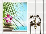 creatisto Dekor-Fliesen, Badfliesen | Fliesentattoo Küche Bad ergänzend zu Kühlschrankmagnet Wandtattoo | 20x25 cm Design Motiv Lotus Flower - 9 Stück