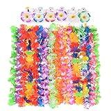 EKKONG 36 Pezzi Ghirlande Hawaiane Leis Set, Include 24 Collana Fiori Hawaii con 12 Fermagli per Capelli Plumeria, Luau Festa Accessori per Feste Forniture Foto Booth Puntelli