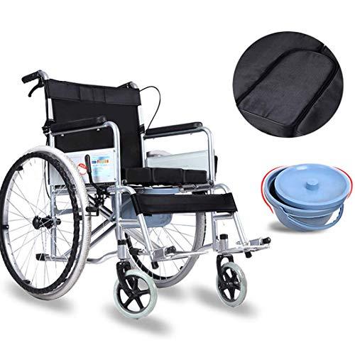 GMJYQ Professioneller Klappstuhl für Toiletten mit Rädern und Pedal, multifunktionaler, tragbarer, gepolsterter Sitz, Auflagen für zusätzlichen Komfort