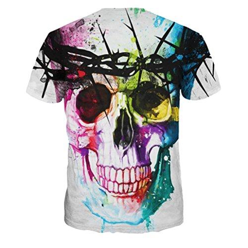 Ularma Skelett T-Shirt Rund-Ausschnitt Modisch Bunt Kurzarm Baumwolle Bluse Skelett