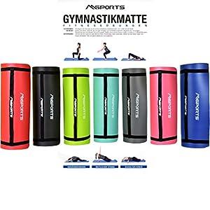 MSPORTS Gymnastikmatte Studio 183 x 61 x 1 cm oder 183 x 61 x 1,5 cm | inkl. Übungsposter und Tragegurte | Hautfreundliche – Phthalatfreie Fitnessmatte weich | Yogamatte